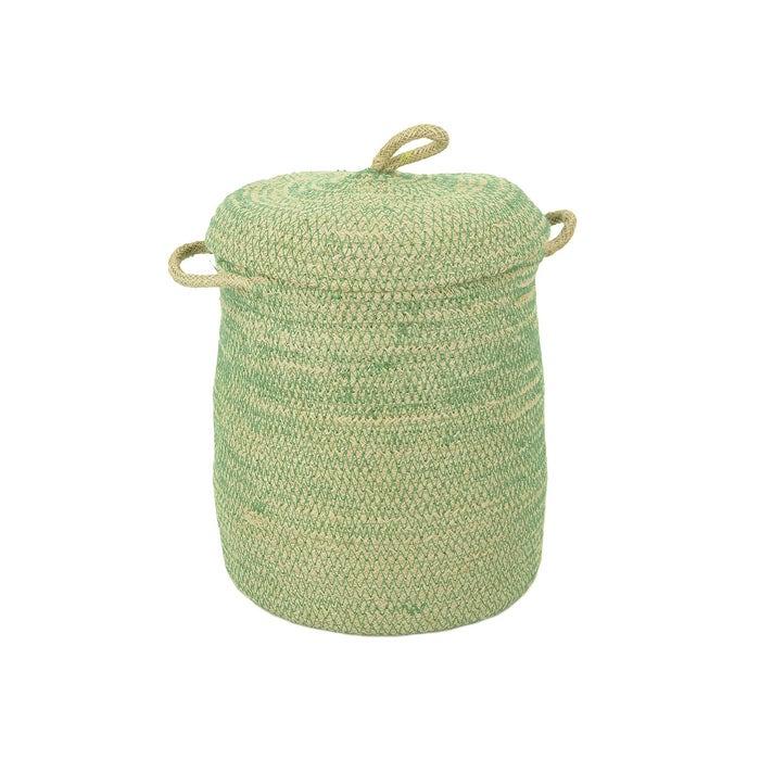 Korb mit Deckel, weiß/ grün, S