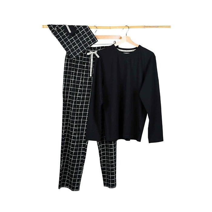 Pyjama für Damen grün Hexagon