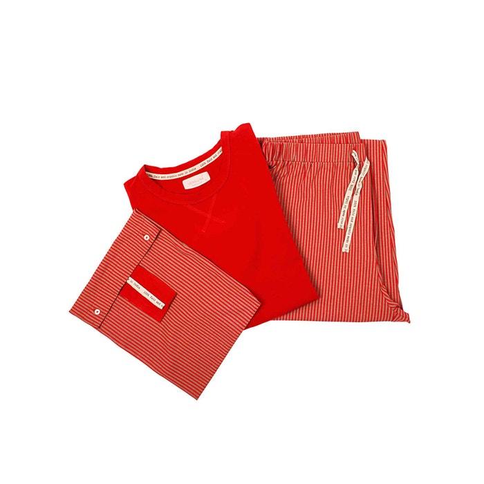 Pyjama für Herren, rot gestreift, Größe L