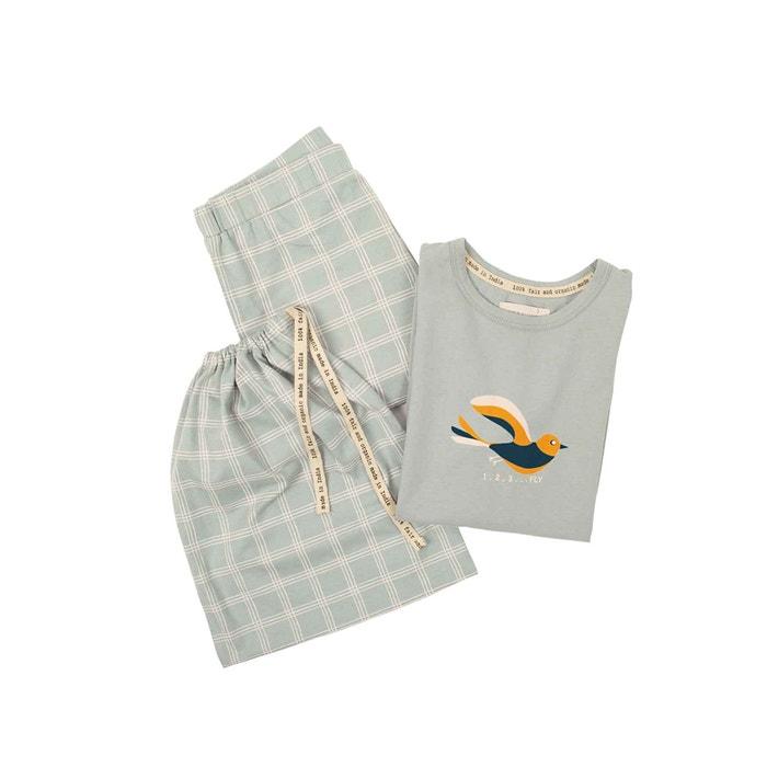 Pyjama für Kinder, grau kariert, Größe 110/116