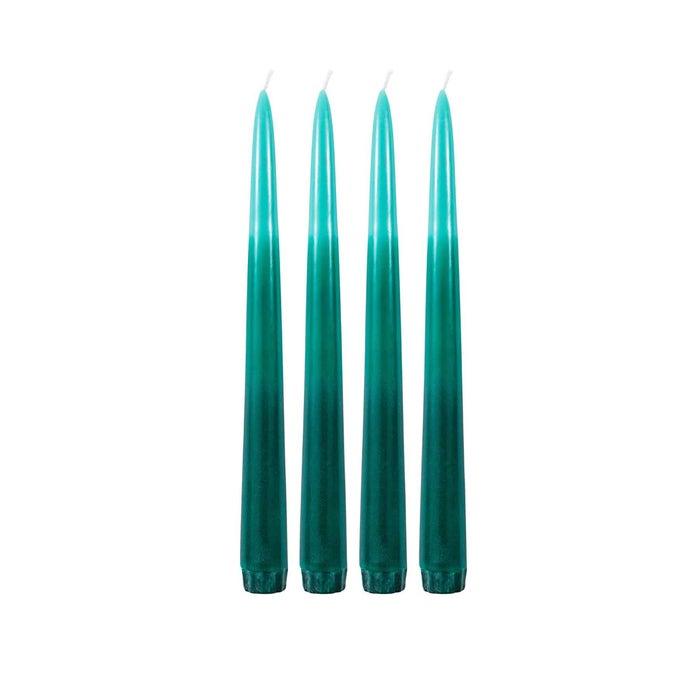Tafelkerzen Farbverlauf glatt grün 4er-Set